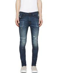 DIESEL | Blue Distressed Spencer-ne Jogg Jeans for Men | Lyst