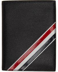 メンズ Thom Browne ブラック インタルシア ストライプ パスポート ホルダー Black