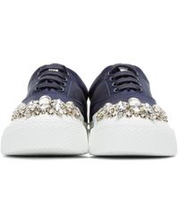 Miu Miu Blue Ssense Exclusive Navy Satin & Crystal Sneakers