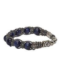 Emanuele Bicocchi - Silver And Blue Beaded Bracelet for Men - Lyst