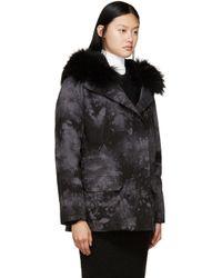 Army by Yves Salomon Black & Grey Tie-dye Fur-lined Parka