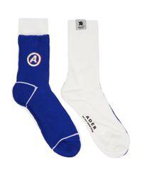 ADER ERROR White And Blue Different Tissue Socks for men