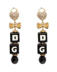 Dolce & Gabbana - Black & Gold Dice Clip-on Earrings - Lyst