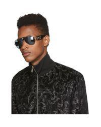 メンズ Versace ブラック And ゴールド Baroque サングラス Black
