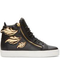 Giuseppe Zanotti - Black Leather Leaf High-top London Sneakers for Men - Lyst