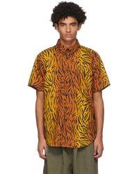 メンズ Naked & Famous オレンジ Big Tiger Easy ショート スリーブ シャツ Orange