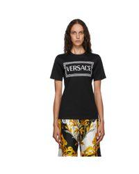 Versace ブラック 90s ロゴ T シャツ Black