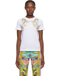 Versace Jeans ホワイト インスティテューショナル ロゴ T シャツ White