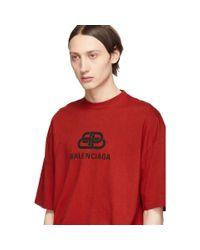 メンズ Balenciaga レッド Bb T シャツ Red