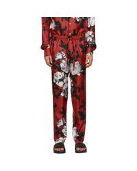 メンズ Dolce & Gabbana レッド カメリア プリント パジャマ トラウザーズ Red
