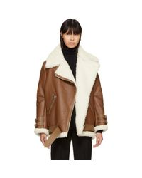Acne - Brown Shearling Velocite Jacket - Lyst