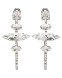 Miu Miu | Metallic Silver Crystal Hoop Clip-on Earrings | Lyst