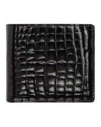 メンズ Maison Margiela ブラック クロコ バイフォールド ウォレット Black
