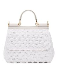 Dolce & Gabbana White Medium Raffia Miss Sicily Bag