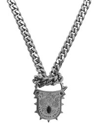 Alexander McQueen | Metallic Silver Padlock Chain Necklace for Men | Lyst