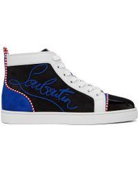メンズ Christian Louboutin ブラック & ブルー Louis Flat スニーカー Blue
