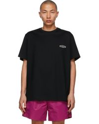 メンズ Wooyoungmi ブラック ロゴ T シャツ Black