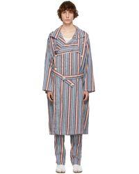 メンズ Maison Margiela マルチカラー ストライプ トレンチ コート Multicolor
