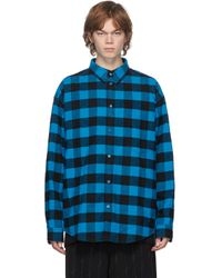 メンズ Balenciaga ブラック & ブルー ロング スリーブ シャツ Blue