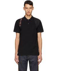 メンズ Alexander McQueen ブラック ロゴ ハーネス ポロシャツ Black