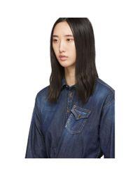DSquared² ブルー デニム ハンカチーフ シャツ Blue