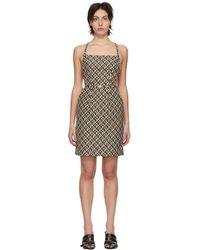 MARINE SERRE ブラック & タン Moon Lozenge Strapped エプロン ドレス Multicolor