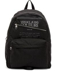 メンズ Versace Jeans ブラック & シルバー Warranty バックパック Black