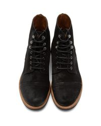 GRENSON Black Suede Radley Boots for men