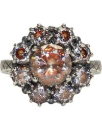Bottega Veneta - Metallic Silver Flowers Zircon Ring - Lyst
