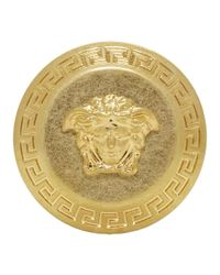 Versace - Metallic Gold Big Coin Ring - Lyst