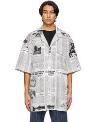 メンズ Balenciaga ホワイト & ブラック Happy News ショート スリーブ シャツ White