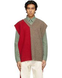 メンズ Maison Margiela レッド & トープ Stole V ネック セーター Red