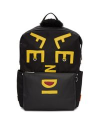 161e78d39ee2 Lyst - Sac a dos a logo en nylon noir Faces Fendi pour homme en ...