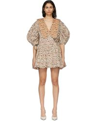 Kika Vargas ホワイト & タン Victoria ショート ドレス White