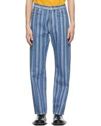 Martine Rose Blue & White Stripe Relaxed Jeans for men