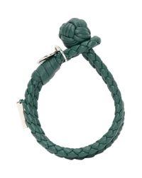Bottega Veneta Green Blue Intrecciato Knot Bracelet