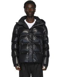 メンズ Fendi ブラック ダウン フード ジャケット Black