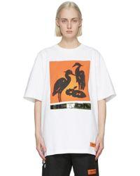 Heron Preston ホワイト & オレンジ Nightshift T シャツ White