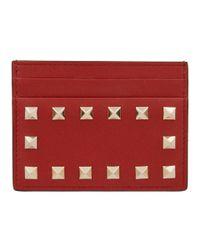 Valentino Garavani Black Rockstud Studded Leather Card Holder