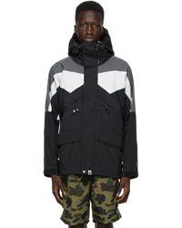 メンズ A Bathing Ape ブラック カラーブロック クラシック Snowboard ジャケット Black
