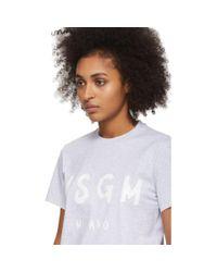 MSGM グレー アーティスト ロゴ T シャツ Gray