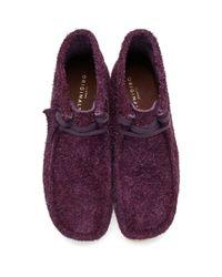 メンズ Clarks パープル ヘアリー スエード ワラビー ブーツ Purple