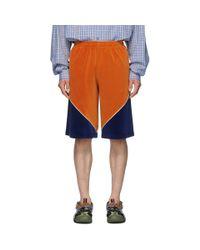 Gucci Orange Velvet Shorts for men