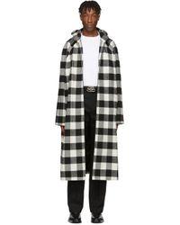 メンズ Balenciaga ブラック & ホワイト フランネル フード コート Black