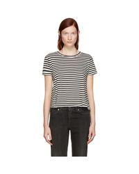 AMO - Black Striped Twist Cut-out T-shirt - Lyst