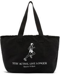 Sporty & Rich ブラック Live Longer トート バッグ Black