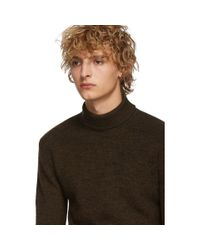 Col roule en laine brun et noir Lemaire pour homme en coloris Black