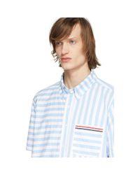 メンズ Thom Browne ブルー And ホワイト ユニバーシティ ストライプ シャツ Blue