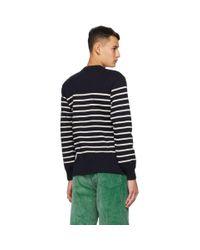 メンズ Marc Jacobs Armor-lux Edition ネイビー ウール ストライプ スウェットシャツ Blue