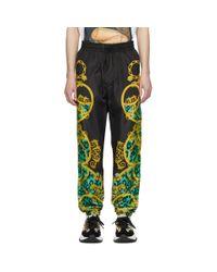 メンズ Versace Jeans ブラック And グリーン Leo チェーン トラック パンツ Green